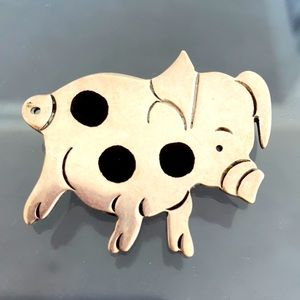 ♥️Vintage Silver Mexican Taxco Piggy Brooch